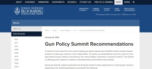 John Hopkins Gun Summit Recommendations Page